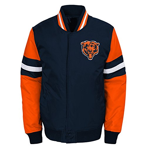 - Outerstuff NFL Chicago Bears Youth Boys Legendary Color Blocked Varsity Jacket Deep Obsidian, Youth Large(14-16)