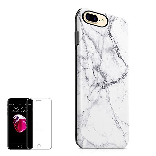 iPhone 7 Plus Case ,iPhone 8 Plus Case(5.5 inch) Obbii Unique Marble Design Hybrid Slim Hard Shell+ Inner TPU Protective Durable Cover Case With Clear Screen Protector for iPhone 7 Plus/8 Plus