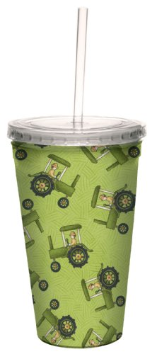 Tree-Free Greetings 80294 Tractors by Debbie Mumm Artful Traveler Double-Walled Acrylic Cool Cup with Reusable Straw, 16-Ounce