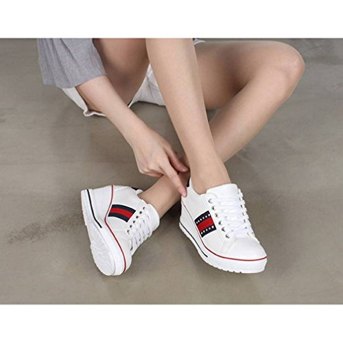 Mid EpicStep Wedges Lace Women's Sneakers Shoes up Heels Studs Platform White Fashion 44Hafq