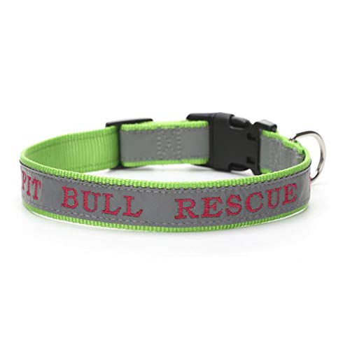 (DSstyles Adjustable Embroidery Reflective Pet Dog Collar for Outdoor Training Grass Green S Birthday)