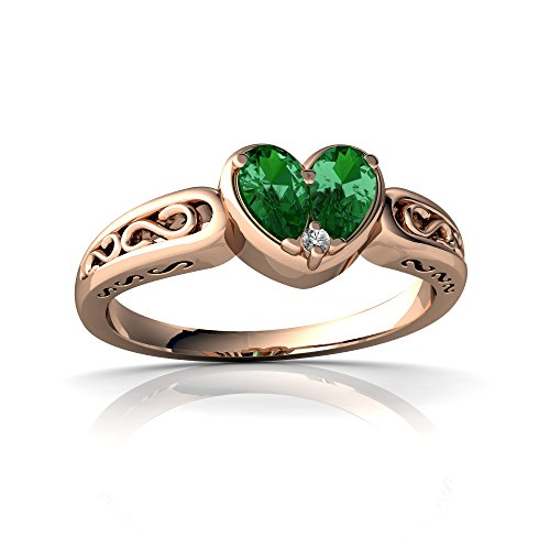 14kt Rose Gold Lab Emerald and Diamond 5x3mm Pear filligree Heart Ring - Size 9