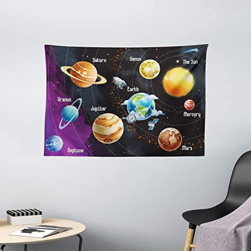 Ambesonne Outer Space Tapestry, Solar System of Planets Milky Way Neptune Venus Mercury Sphere Illustration, Wide Wall Hanging for Bedroom Living Room Dorm, 60 X 40 , Orange Black