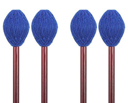 Buytra 2 Pairs Medium Hard Yarn Head Keyboard Marimba Mallets with Maple Handle, Blue