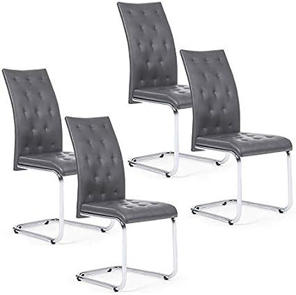 IDMarket Lot de 4 chaises POLGA capitonn/ées Gris Anthracite pour Salle /à Manger