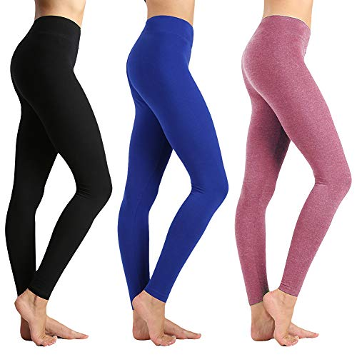 Leggings-Super Soft Slim Pants-One/Plus Size 20+ Design (Black+Royal Blue+Old Rose, One Size(US 2-12)) ()