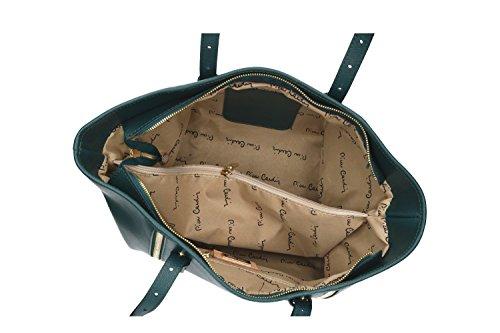 Pam Shop Tasche Damen Schulter Pierre Cardin Grün Petroleum in Leder Made in Italy VN184