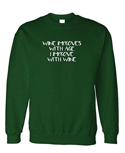 (Guacamole I Improve with Wine - Merlot grigiot - Fleece Sweatshirt, L, Forest)