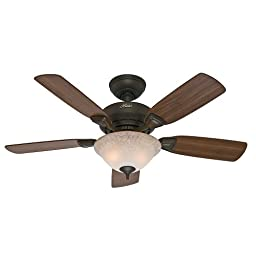 Hunter Fan Company 52082 Caraway 44-Inch New Bronze Ceiling Fan with Five Harvest Mahogany/Golden Walnut Blades and a Light Kit