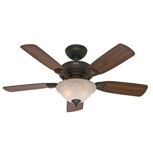 Hunter 52082 Caraway 44-Inch New Bronze Ceiling Fan with Five Harvest Mahogany/Golden Walnut Blades and a Light Kit ()