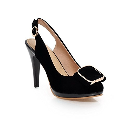 AllhqFashion Womens High-Heels Frosted Solid Buckle Pointed Closed Toe Sandals Black 7uFXgb