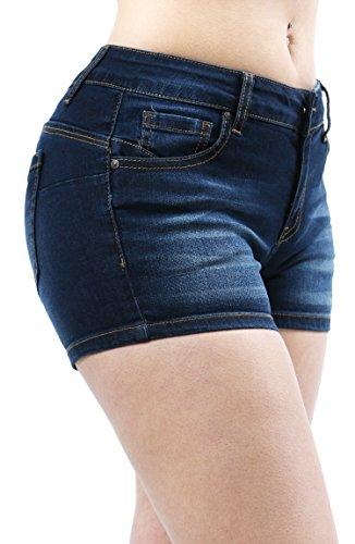 Women Fashion Butt Lifting Push Up Stretch Short Pants with Pockets Small DK DENIM-90022 (Butt Lifting Shorts)