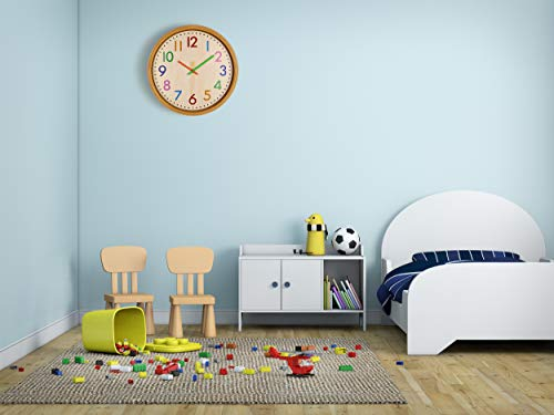 AIOLOC Kids Eco-friendlly Imitate Wood Wall Clock 12.5 Inch Silent Colorful Decorative Battery Operated Clocks Easy To Read for Children's Room by Ticktar (Image #4)