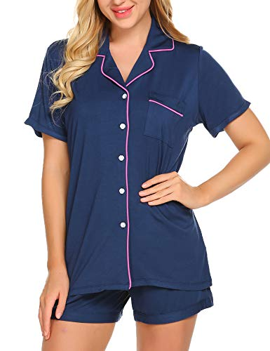 Ekouaer Loungewear Set Women's Button Down Pajamas Short Sleeve Sleepwear Set, Navy, Small