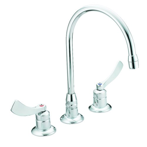 Moen 8225SMF15 Commercial M-Dura Widespread Kitchen Faucet with 4-Inch Smooth Wrist Blade Handles and 8-Inch Spout Reach, 1.5-gpm, Chrome - Handle Kitchen Cast Spout Faucet