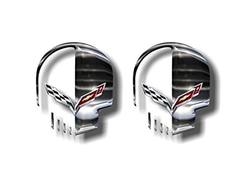 2 Jake Skull Vinyl Sticker Decals for Corvette C4 C5 C6 C7 ZR1 Z51 Z06 Decal Stickers (Chrome Effect Print)