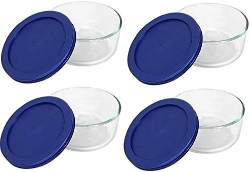 Pyrex Blue Storage 2 Cup Popular overseas Round Special price Dish Contai Pack of 4 Clear Lid