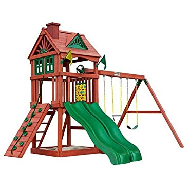 Gorilla Playsets Double Down Solid Cedar Wood Frame Swing Set with Ladder, Slide, Climbing Frame, Rooftop, Sand Box, Trapeze Rings, and 3-Position Swing Beam + Free Basic Design Concepts Expert Guide
