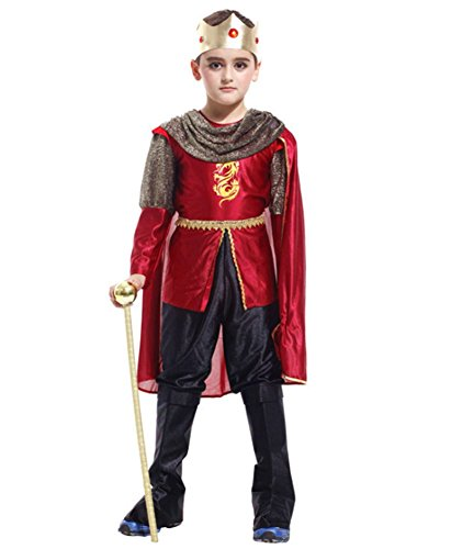 Kalanman Children Boys Halloween Dress Up & Role Play Costume Medieval Prince King Warrior Outfit (L(Fit for 7-9 Age), King 40) ()