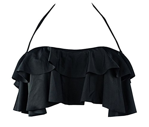 Shirred Halter Top (Cocoship Black Solids Women's Retro Halter Bikini Top Boho Flounce Falbala Padding Swim Bathing Shirred Tankinis XXXL(FBA))