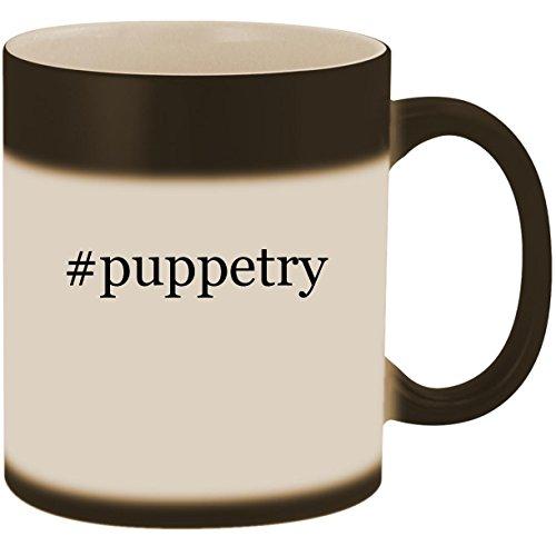 #puppetry - 11oz Ceramic Color Changing Heat Sensitive Coffee Mug Cup, Matte Black ()