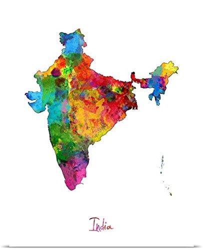 India Watercolor Map Poster Print