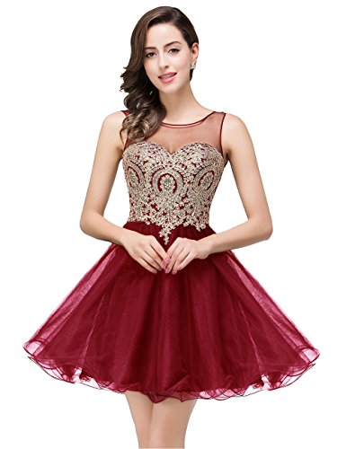 Women's Bridesmaid Dress Short A Line Burgundy Party Dresses