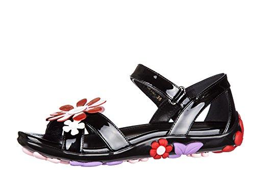 nuevo Prada en negro piel pintar sandalias mujer 1vqZA