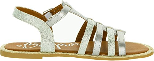 Beppi Mädchen Sommer Sandalen   Elegante Leichte Modische Strandschuhe   Badeschuhe Flach   Glänzende Sandaletten   Gold oder Silber Silber