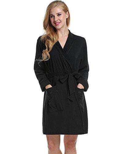 Avidloe Women's Hotel Spa short Kimono light weight viscose knit bathrobe, Black, Large