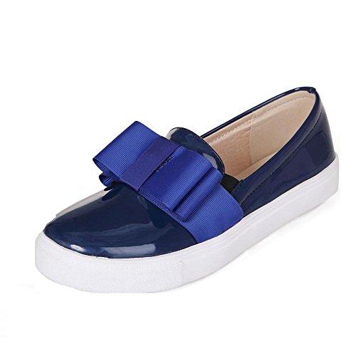 Amoonyfashion Womens Pull-on Lage Hakken Pu Stevige Ronde Gesloten Teen Pumps-schoenen Met Blauwe Strikjes