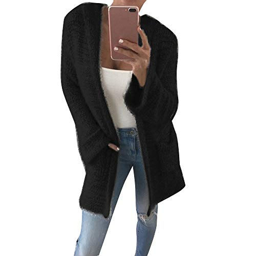 JOFOW Womens Solid Cardigans,Knit Mohair Hooded Thin Coat Pocket Knitted Loose Soft Slim Straight Classic New Sweater Jacket (S,Black)