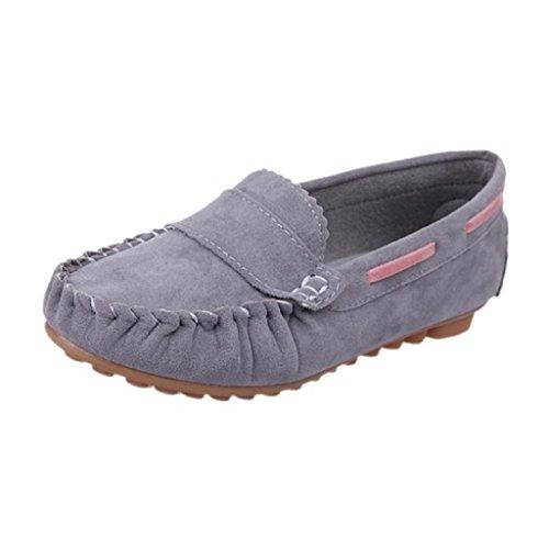 Ularma Zapatos de las mujeres, Resbalón en los zapatos planos confort gris