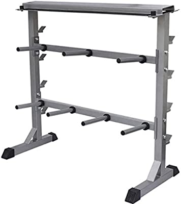 Gymrex Soporte para Pesas y Mancuernas GR-PL350 Capacidad M/áxima 350 Kg, Fabricado En Acero, Soporte para Barra De 100 cm
