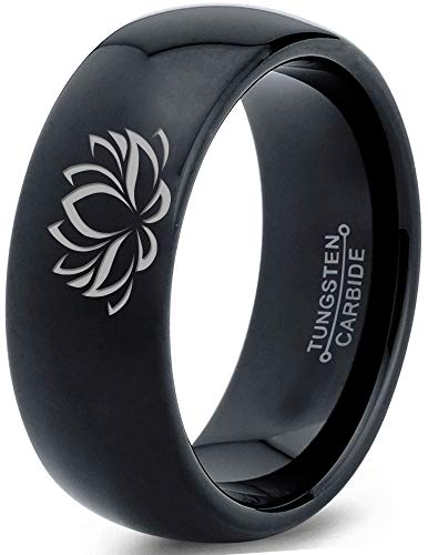 Zealot Jewelry Tungsten Indian Lotus Nelumbo Nucifera Sacred Flower Band Ring 8mm Men Women Comfort Fit Black Dome Polished Size 6 (Flowers Indian Ring)