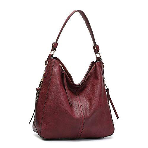 DDDH Vintage Hobo Handbags Shoulder Bags Durable Leather Tote Bags Crossbody Purses Bucket Bag For Women/Ladies/Girls(Claret-red2)