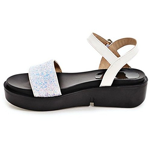 Toe Open TAOFFEN Flatform White Women Sandals rttIqA6w