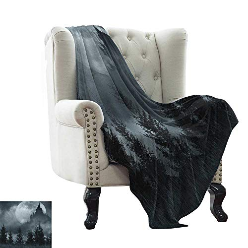 BelleAckerman Weighted Blanket for Kids Halloween,Magic Castle Silhouette Over Full Moon Night Fantasy Landscape Scary Forest, Grey Pale Grey Winter Luxury Plush Microfiber Fabric 30