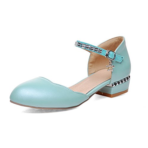 AmoonyFashion Womens PU Low-heels Round-Toe Solid Buckle Sandals Blue 4jMkq