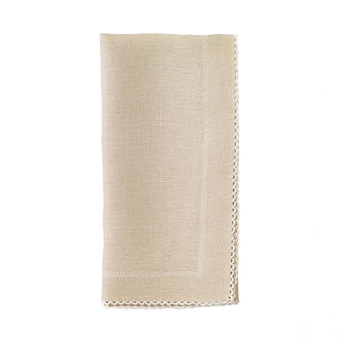 Bodrum Picot Oatmeal & White Linen Napkins (Set of 6) 22'' x 22'' (55.9cm x 55.9cm) by Bodrum