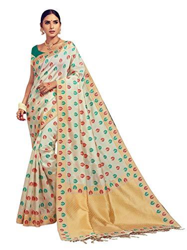 Sarees for Women Banarasi Art Silk Woven Saree l Indian Ethnic Wedding Gift Sari with Unstitched Blouse Cream