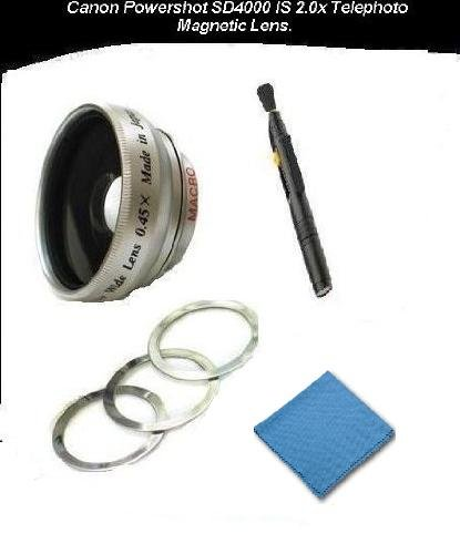 Canon Powershot SD4000 IS 2.0x Telephoto (Magnetic Lens) + DIGI Micro-Fiber Cleaning Cloth+ Pro Lens Cleaning Pen. by Digi
