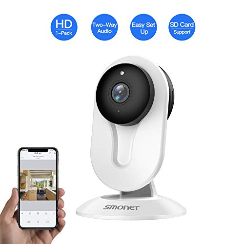 SMONET Home Security Camera, IP Security Camera with Two-Way Audio, Night Vision, HD Indoor Surveillance Camera for Elder Baby Nanny Pet Monitor White