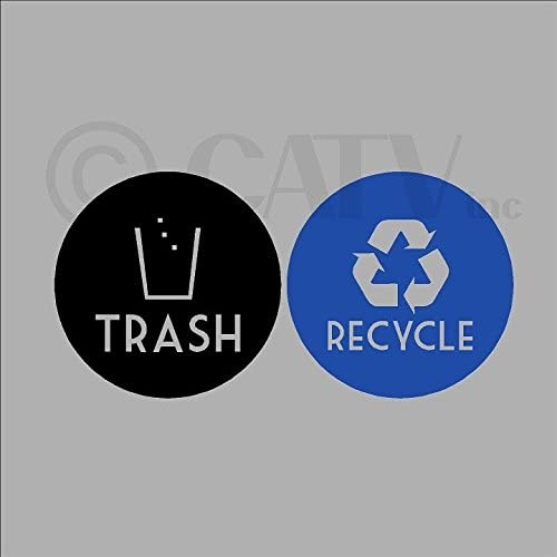 Recycle and Trash Vinyl Lettering Decal Sticker 4 x 4, Blue Recycle w//Black Trash