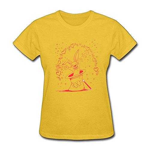 Tee Center Happy Rabbit Shirts Womens Round Collar Yellow M