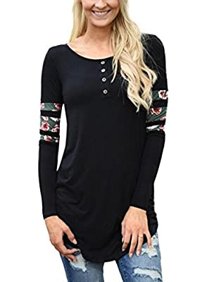 AlvaQ Women Floral Print Long Sleeve Front Buttons T-shirt Tunic Tops