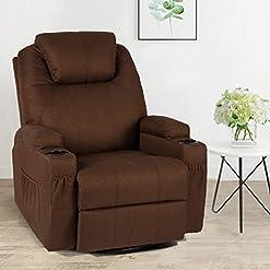 Living Room Esright Fabric Massage Recliner Chair 360° Swivel Heated Ergonomic Lounge Chair, Coffee