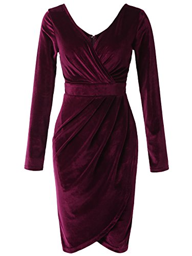 JayJay Women Sexy Faux Wrap Long Sleeve Velvet Mini Dress,Purple,S -