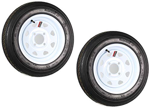 2-Pack Trailer Tire On Rim 480-12 4.80-12 12 in. LRB 4 Hole White Spoke
