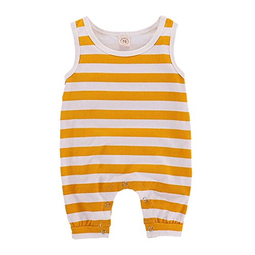 Unmega Baby Boy Girl Sleeveless Stripe Print Romper Jumpsuit (Yellow, 100/18-24 Months)